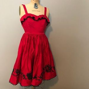 Pinup Couture Red Dress with Pom Pom Trim